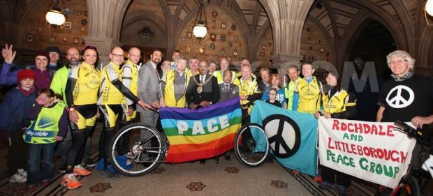 The Lord Mayor of Manchester and others launch the 2014 World Bike Ride for Peace